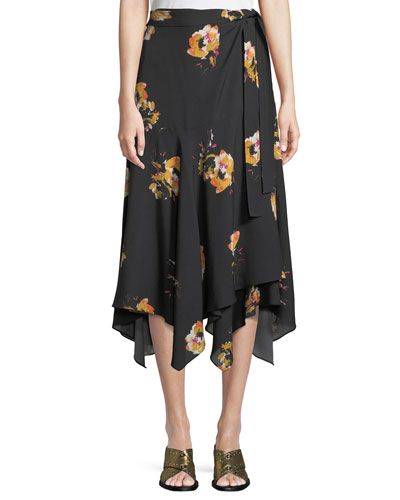 Borden Floral Silk Wrap Midi Skirt