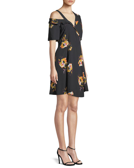 Lucia Off-the-Shoulder Floral Silk Mini Dress