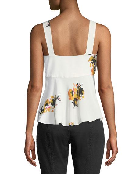 Nova Floral Silk Tie-Front Top