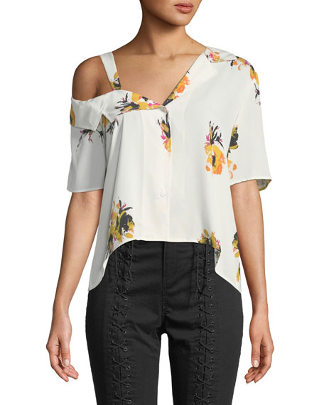 Bronte One-Shoulder Floral Button-Front Top