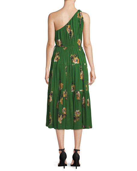 Tenley Silk Floral One-Shoulder Midi Dress