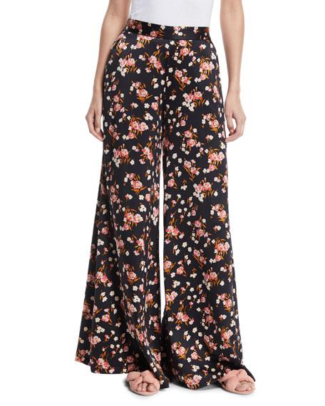 Seton Floral-Print Wide-Leg Silk Pants