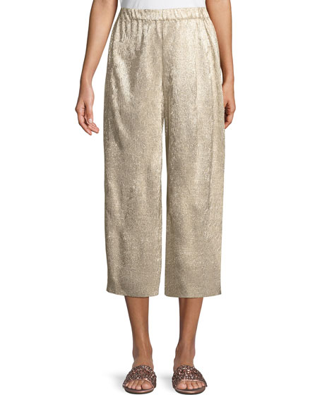 Elba Plisse Pull-On Cropped Wide-Leg Pants