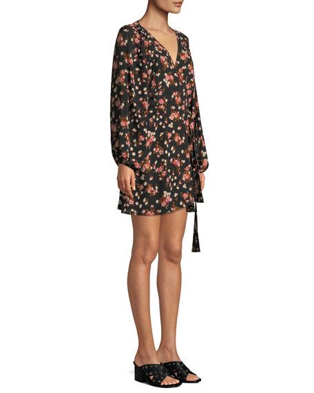 Carlo Floral Silk Wrap Dress