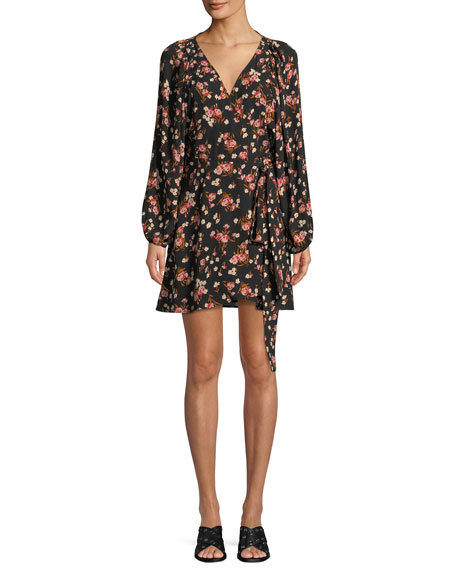 A.L.C Carlo Floral Silk Wrap Dress, Multi