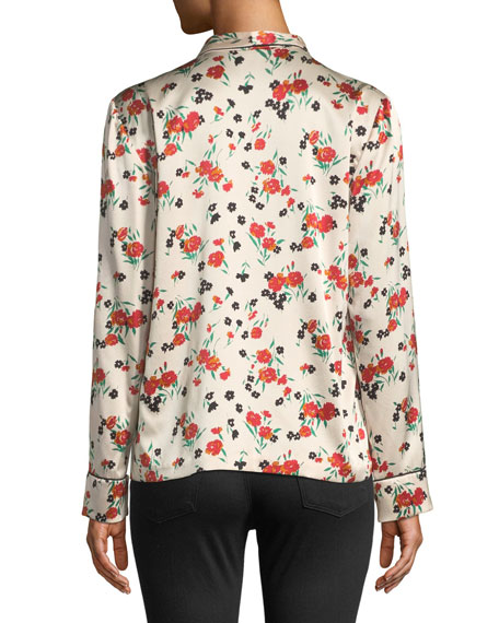 Leomie Floral-Print Silk Button-Front Top