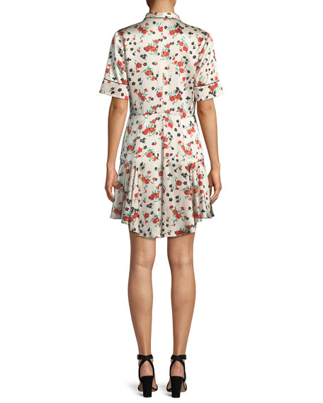 Ruthie Floral Stretch-Silk Button-Front Dress