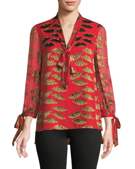 x Donald Robertson Sheila Cheetah-Print Blouson-Sleeve Top