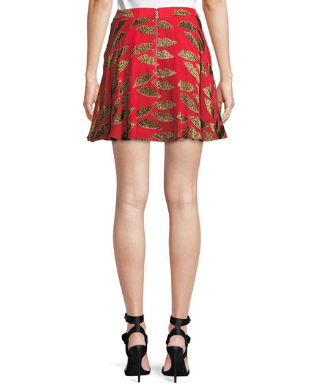 X Donald Robertson Blaise Cheetah Lips Trapeze Mini Skirt