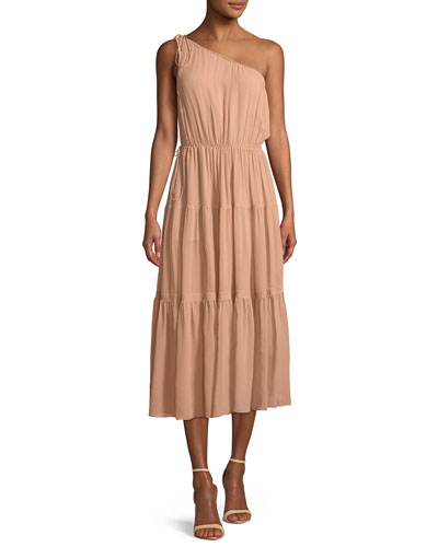 Tenley One-Shoulder Tiered Silk Midi Dress