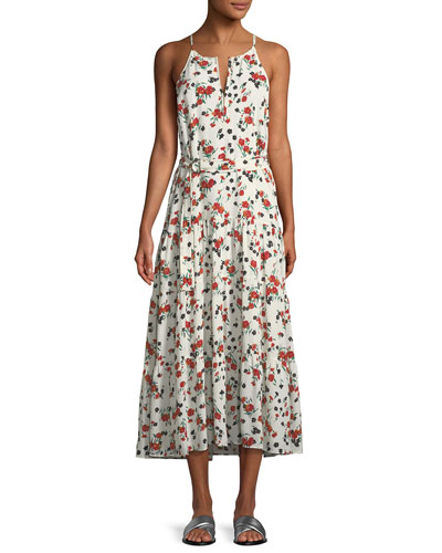 Richards Floral-Print Silk Midi Dress