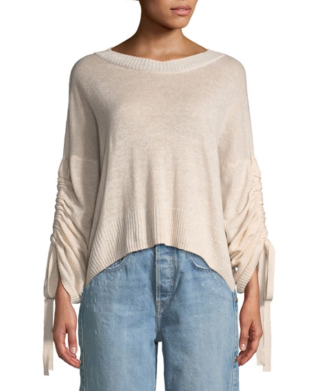 Zora Linen/Cashmere-Blend Drawstring-Sleeve Sweater