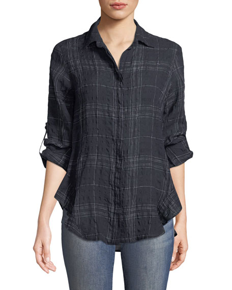 Finley Windowpane Agetha Button-Front Shirt