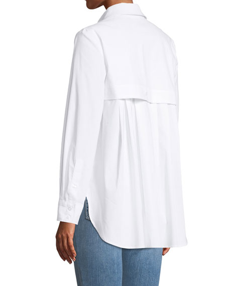 Diedre Pleat-Back Button-Down Shirt