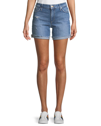 Rolled-Cuff Distressed Jean Shorts