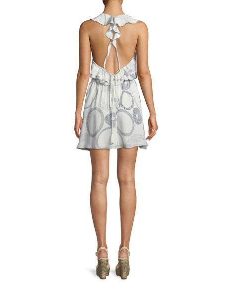 Ciara Surplice Sleeveless Circle-Print Silk Mini Dress