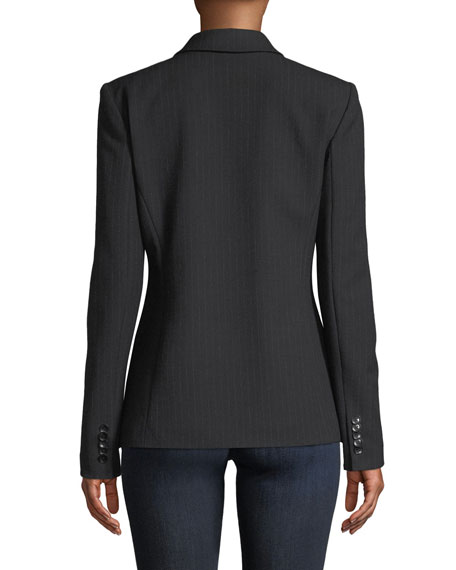 Lorelei Hook-Front Pinstripe Wool-Blend Jacket