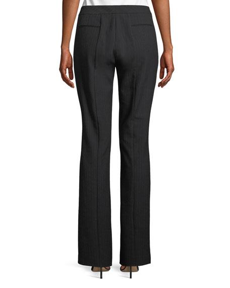 Leena Pinstripe Straight-Leg Pants w/ Slit