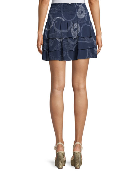 Anabelle Printed Tiered Silk Mini Skirt