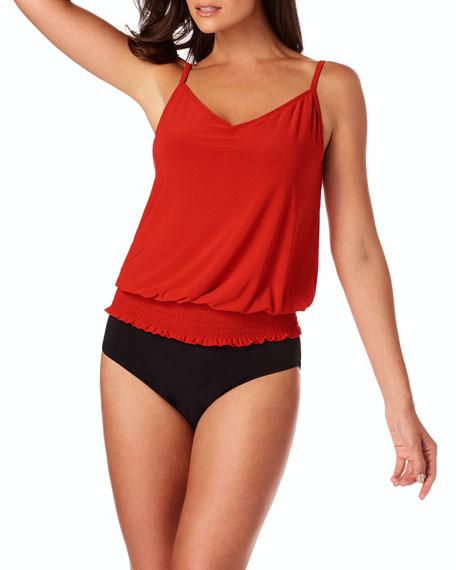 Justina Smocked Tankini Swim Top