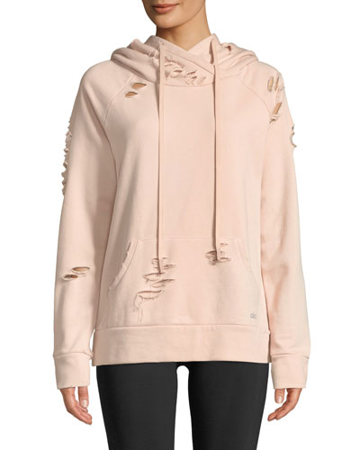 Ripped French Terry Pullover Hoodie Sweatshirt