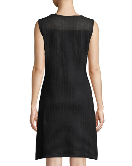 Sheer-Yoke Sleeveless Shift Dress
