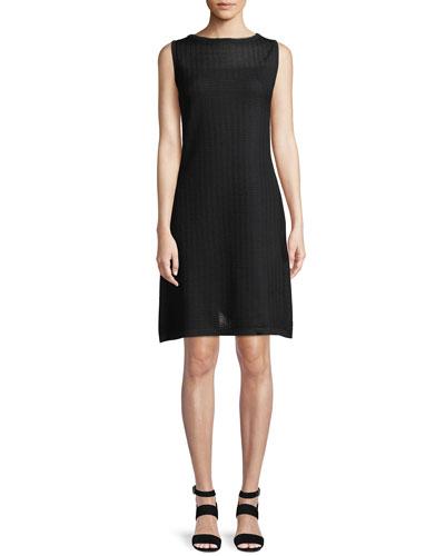 Sheer-Yoke Sleeveless Shift Dress