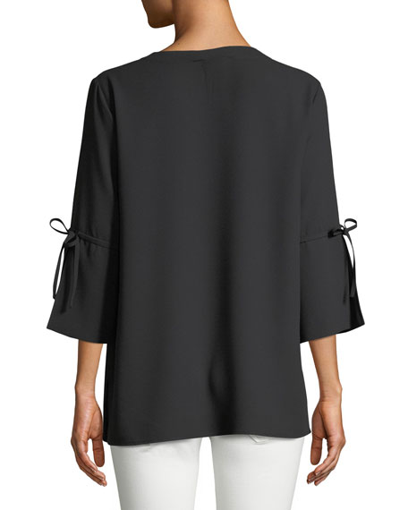 3/4-Sleeve Bow-Cuff Top