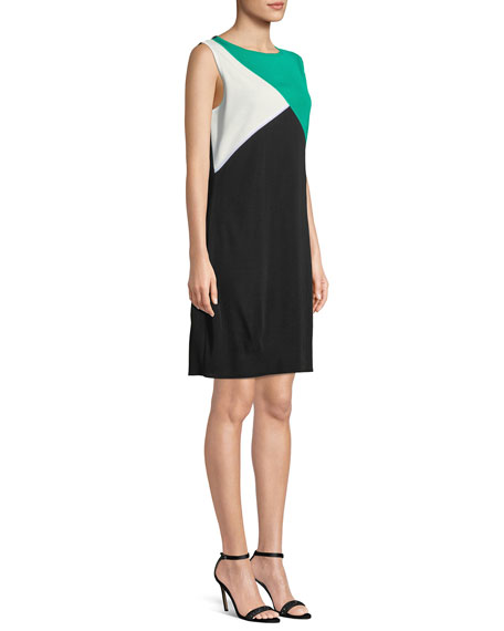 Colorblocked Sleeveless Shift Dress