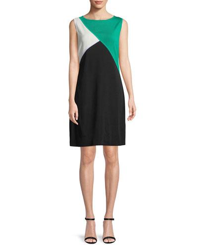 Colorblocked Sleeveless Shift Dress