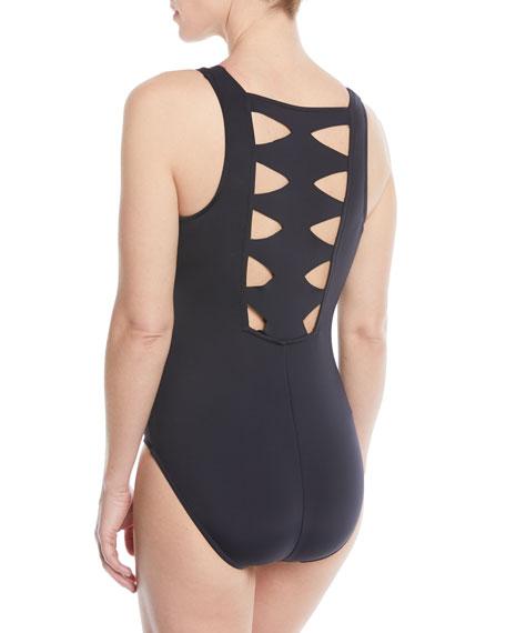 Audra Scuba Zip-Front One-Piece Swimsuit