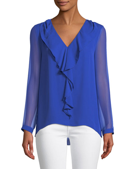 Elie Tahari Laurie V-Neck Cascade Ruffle Long-Sleeve Silk