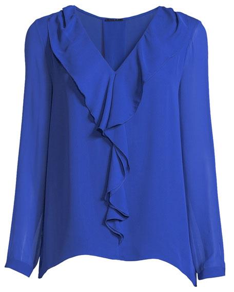 Laurie V-Neck Cascade Ruffle Long-Sleeve Silk Chiffon Blouse