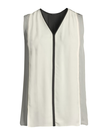 Lacina V-Neck Sleeveless Colorblock Silk Blouse
