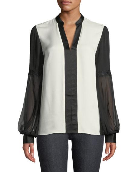 Valere Two-Tone Silk Blouse