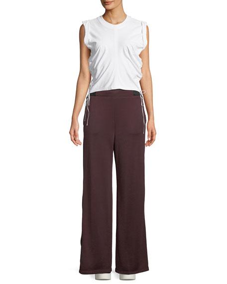 Side-Stripe Wide-Leg Terry Sweatpants