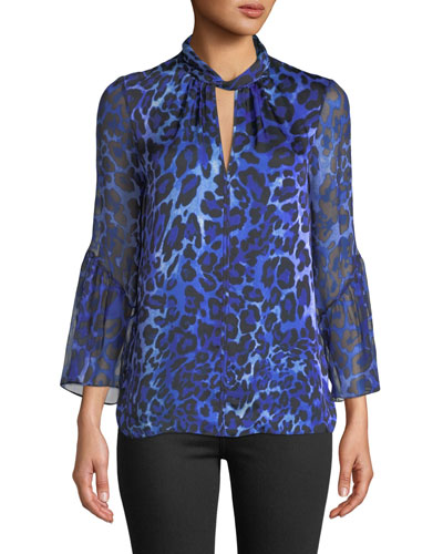Laraib Keyhole Long-Sleeve Leopard-Print Silk Blouse