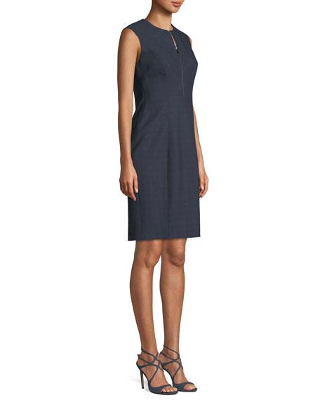 Galiena Zip-Front Sleeveless Tonal Plaid Sheath Dress