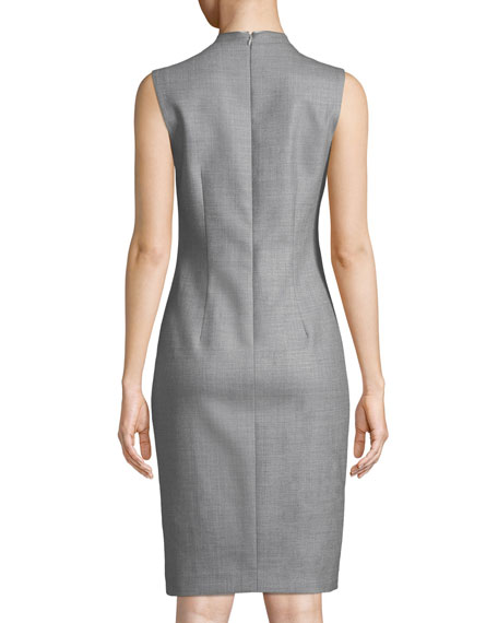 Wendolyn V-Neck Sleeveless Wool Sheath Dress
