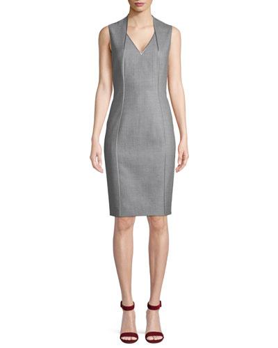 ff7c40054c Wendolyn V-Neck Sleeveless Wool Sheath Dress