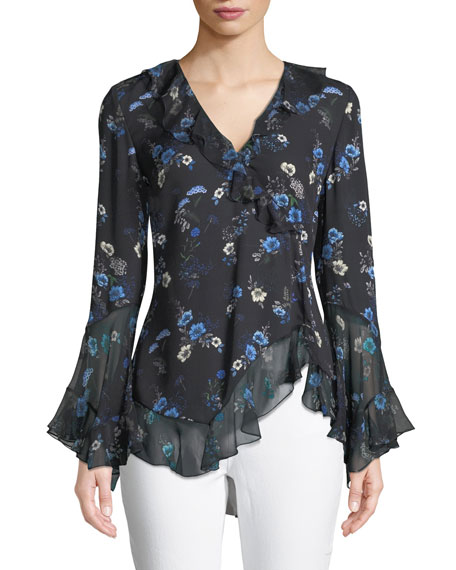 Elie Tahari Halima V-Neck Long-Sleeve Ruffled Floral-Print Silk