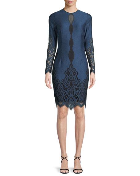 Elie Tahari Pepper Jewel-Neck Long-Sleeve Jacquard Lace Dress