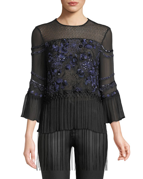 Elie Tahari Aslin Long-Sleeve Embellished Silk Blouse w/