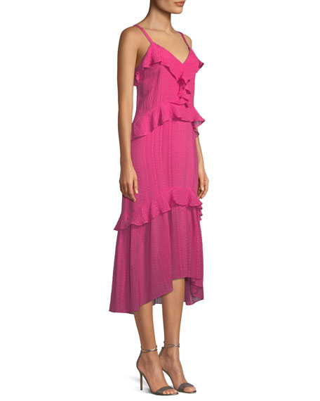 Josie Ruffle Silk Midi Dress