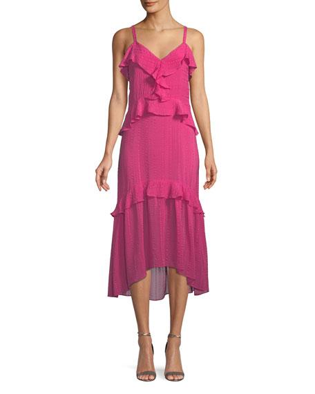 Parker Josie Ruffle Silk Midi Dress