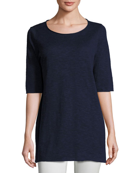 Half-Sleeve Linen-Blend Tunic,  Plus Size