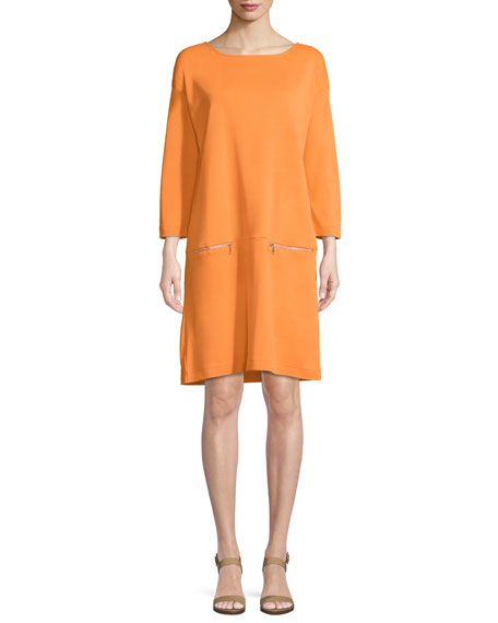 Knit Zip-Pocket Shift Dress