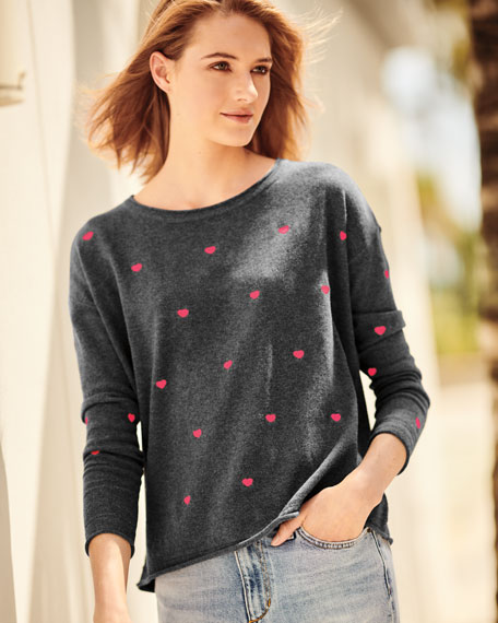 More to Love Cotton/Cashmere Sweater with Scattered Hearts