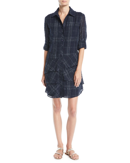 Jenna Windowpane Tiered Shirtdress