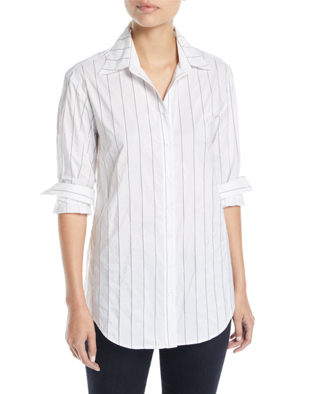 Monica Tech Pinstriped Boyfriend Shirt, Plus Size